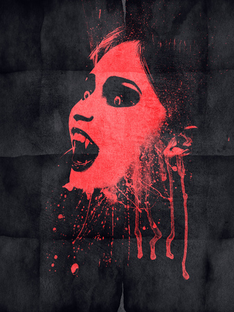 Evil vampire with blood on black grunge paper. photo
