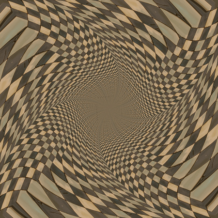 Abstract distorted checkered pattern background of brown color. photo