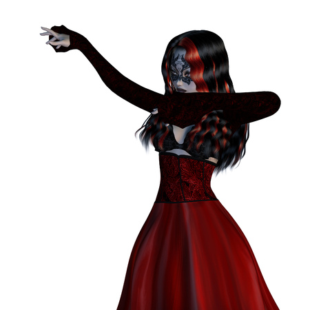 Digitally rendered illustration of a gothic girl in old style red dress on white background. illustration