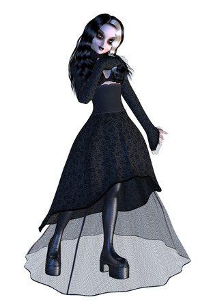 Image de synthèse numérique d'une fille gothique en robe noire sur fond blanc. Banque d'images - 22530291