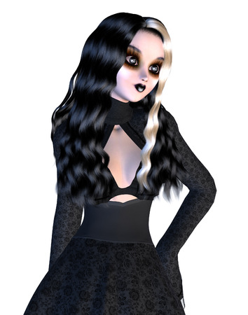 upright: Digitally rendered image of a gothic girl in black dress on white background.