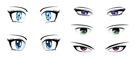 Manga style eyes of different colors set on white background. Vector