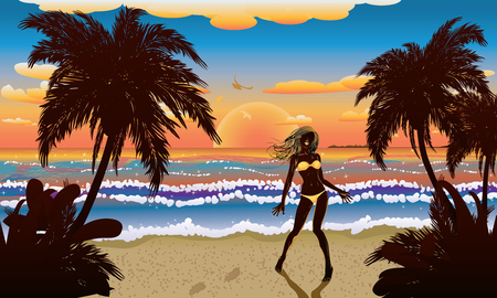 yellow bikini: Silhouette donna in bikini giallo sulla spiaggia tropicale al tramonto.
