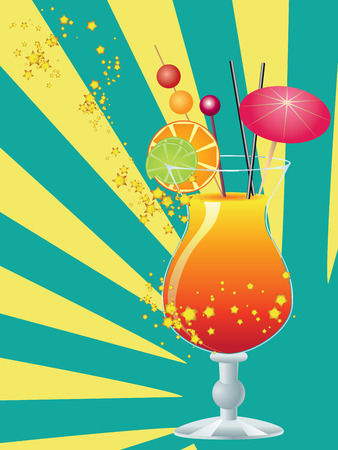 sip: Coctel anaranjado adornado con un peque?o paraguas, paja y rodaja de naranja.
