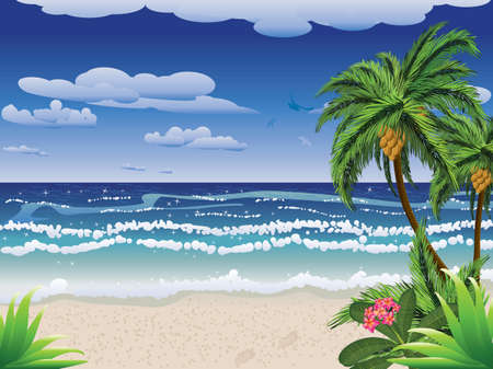 cocos: Summer beach with palm tree, flowers and blue sea.