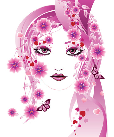 Fantasy portrait of a girl with floral in pink color. Vector