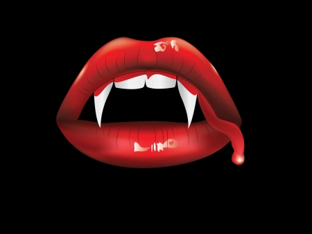 Red lips, white fangs with blood on black background.