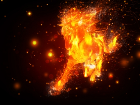 Abstract illustration of running horse in fire background. Stock Photo