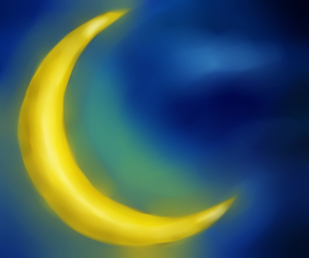 Digitally painted illustration of a big crescent moon over night sky. Stock Illustration - 22693165