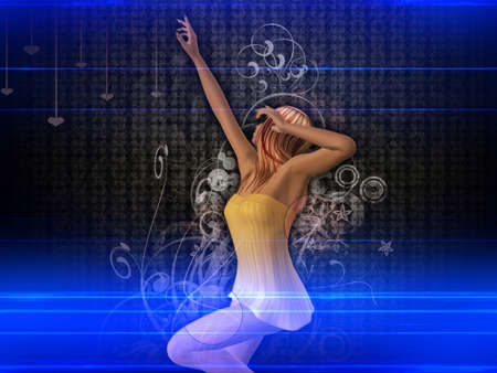 Abstract colorful background with dancing 3d girl. photo