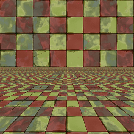Abstract distorted colorful grunge checkered background.