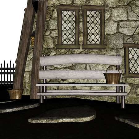 Digitally rendered illustration of an old bench in front of house. illustration