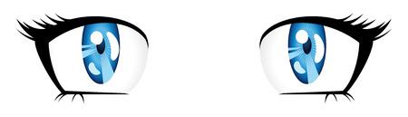 expressive style: Bright blue eyes in manga style on white background.