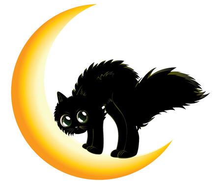 Cute cartoon black kitten on crescent moon. Vector