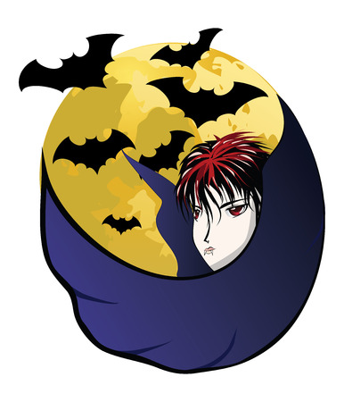 Cartoon vampire, dracula with big yellow moon and bats. Vector