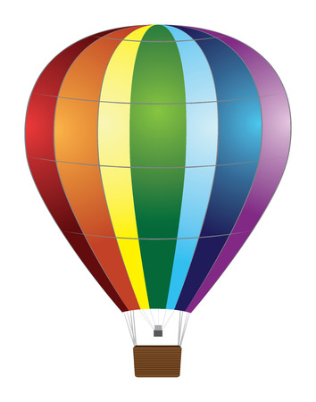 Colorful hot air balloon on white . Vector