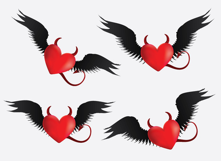 Set of red devil hearts with black wings on light grey. Vector