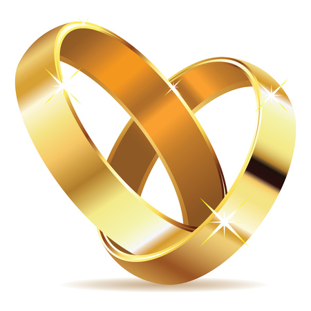 wedding rings: Two wedding rings in shape of heart on white .