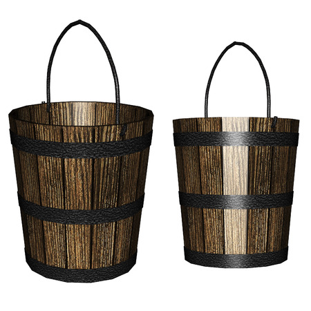 wooden bucket: Digitally rendered illustration of an old wooden bucket on white .