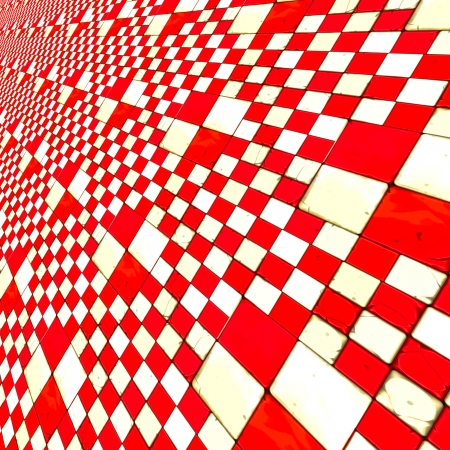 Abstract distorted red and white checkered .