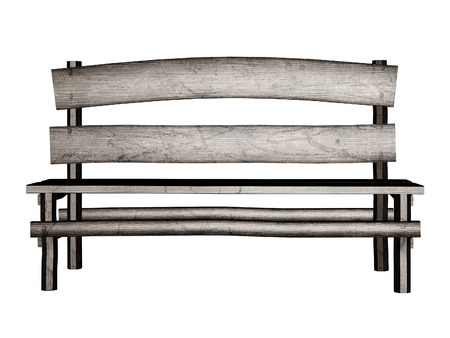 Digitally rendered illustration of an old wooden bench on white. illustration