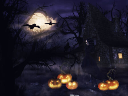 A spooky witch house at night with halloween pumpkins and a witch. photo