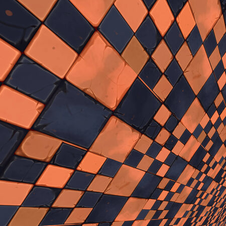 hypnotize: Abstract distorted orange and dark blue checkered . Stock Photo