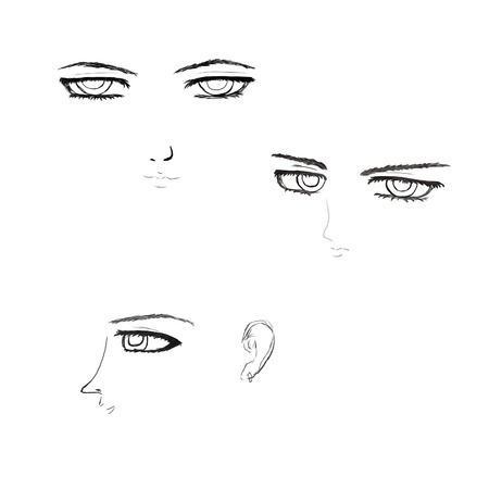 manga style: Set of cartoon male faces in anime, manga style.