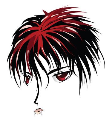 pozőr: Cartoon vámpír arca vörös szem anime, manga stílusban.