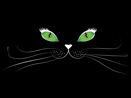 Green eyed cartoon cat face on black background. Vector