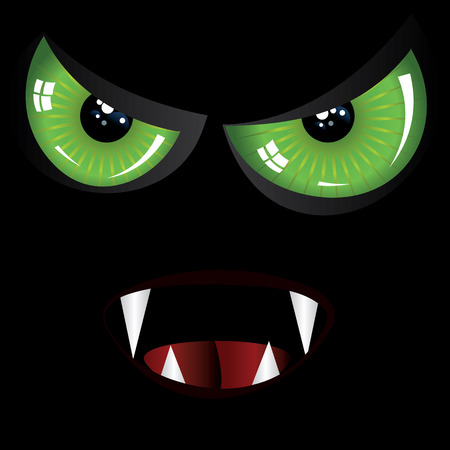 Danger evil face with green eyes and fangs on black background. Vector
