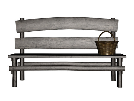Digitally rendered illustration of an old wooden bench on white background. illustration