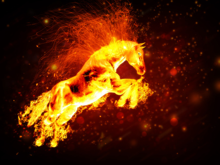 Beautiful running fiery horse on abstract background.