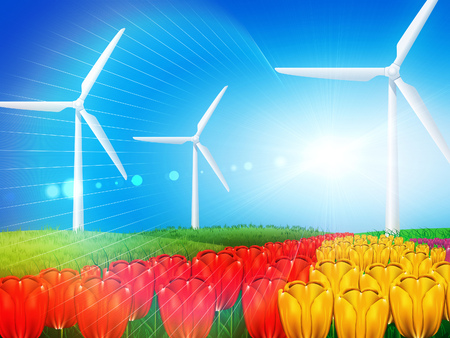 Wind turbines generating electricity on grass field background. photo