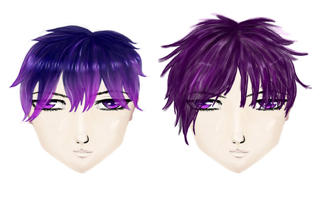 haircuts: Male gothic haircuts in anime, manga style on white background.