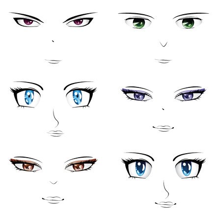 anime: Set of different faces in manga, anime style.