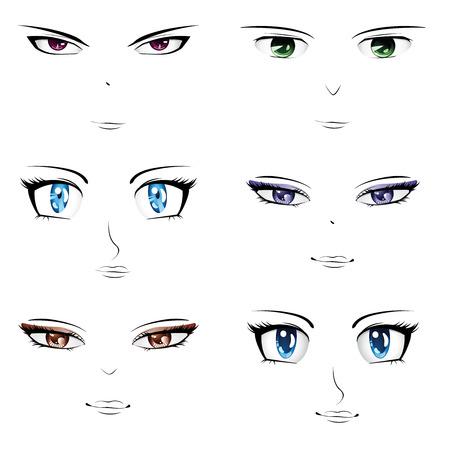 Set van verschillende gezichten in manga, anime stijl.