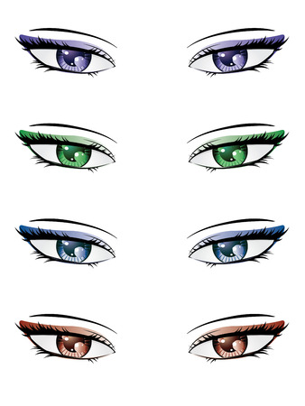 A set of eyes in manga style on white . Vector