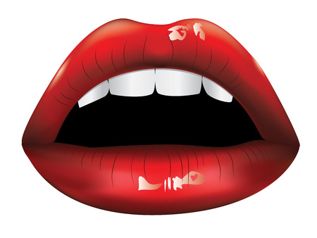 tongue: Shiny beautiful female lips of red color and white teeth.