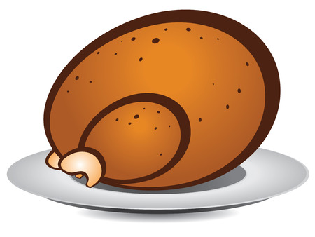 Abstract cartoon roast turkey or chicken on plate. Vector