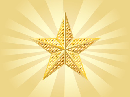 Shiny golden star on yellow with rays. Vector