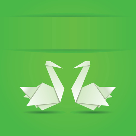 Origami, white folded paper swans on green . Vector