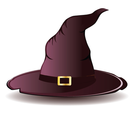 Illustration of tall witch hat on white . Vector