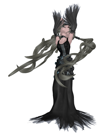 Digitally rendered illustration of a cartoon girl in gothic outfit. illustration
