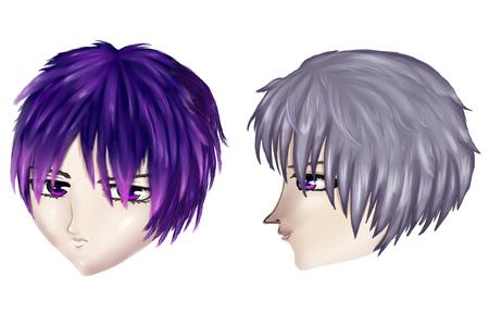 haircuts: Male gothic haircuts in anime, manga style on white .