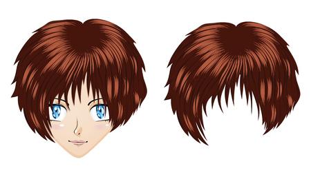 Beautiful brunette girl with blue eyes in anime, manga style. Ilustração