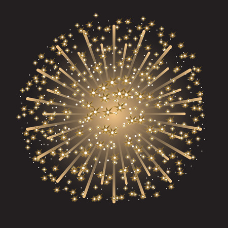 Beautiful colorful sparkling fireworks on dark gray background.
