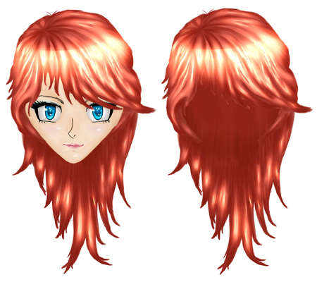 red haired girl: Beautiful red haired girl in anime, manga style.