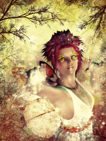 Beautiful fairy on colorful grunge autumn background. Stock Photo