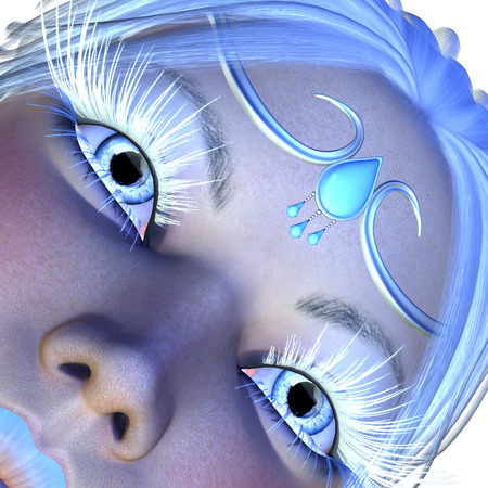 Digitally rendered portrait of a girl with long white lashes, winter woman. photo